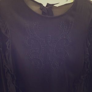Ladies embroidered ruffle top
